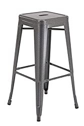 Office Star Products Patterson Exposed Grey 30-Inch High Steel Backless Barstool