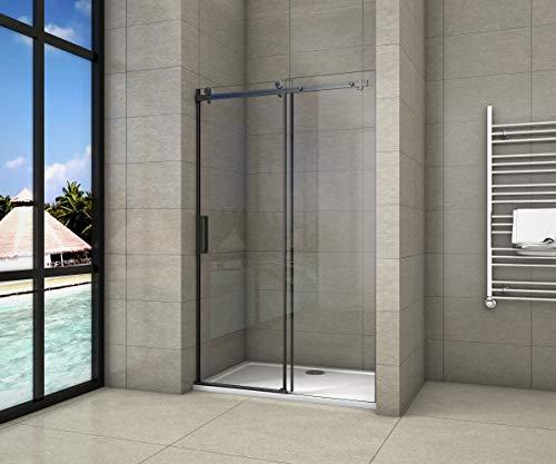 AICA Porta scorrevole doccia 110x200cm Box Doccia a Nicchia PROFILO NERO OPACO Cristallo Temperato 8mm Anticalcare