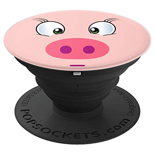 Funny Pig Gift Cute Pink Piggy Face For Pig Lovers PopSockets Grip and Stand for Phones and Tablets