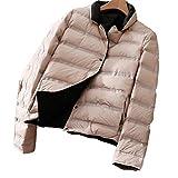 Qianliuk Damen Daunenmantel Ultraleichte Mode Revers Kurze Oberbekleidung Zwei Seiten Tragen Casual Button Winter Keep Warm Jacket
