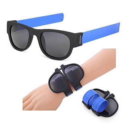 zhgzhzwlf Gafas De Sol Polarizadas, Plegables, Deportivas, Protección, Plegables, Casuales, con Muñequeras, Gafas, Abofeteado, Envolvente para Adultos Y Niños,Azul