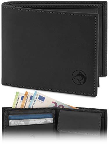 Geldbörse Herren Leder \'Norge\' – Tri-Fold Herren-Portemonnaie RFID-Blocker – 6 Karten-Fach, Ausweis-Fach, Großes Zusatzfach, Scheinfach, Kleingeldfach – Norwegian Black