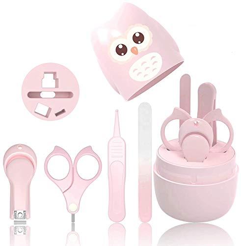 Baby-Nagel-Set, 4-in-1-Baby-Maniküre-Pflegeset, Baby-Nagelknipser, Schere, Nagelfeile und Nasenpinzette für Neugeborene Kleinkinder Kinder Zehen und Fingernägel (Pink)