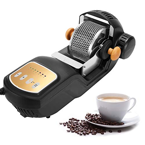 Macchina per Torrefazione del Caffè Elettrica CGOLDENWALL ad Aria Calda 300g 1600W con Gabbia in Acciaio Inossidabile/Ingranaggio da Forno 1-7 Regolabile per Uso Domestico