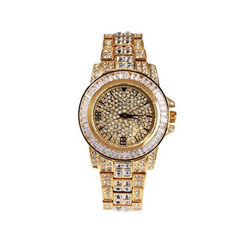 Orologi Da Polso Fashion Diamond Watch Hip Hop Rap Tide Brand Casual quadrante grande orologio, oro