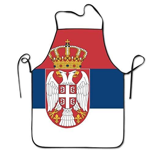 N\A Yongchuang Feng Serbische Flagge Unisex Küche BBQ Koch Chef Schürze Kochen Professionelle Erwachsene Lätzchen Geschenke Grillschürzen