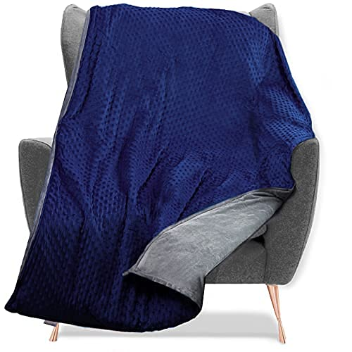 """Quility Premium Adult Weighted Blanket & Removable Cover - 20 lbs - 60""""x80"""" - for Individual Between 190-240 lbs - Full Size Bed - Premium Glass Beads - Cotton/Minky - Grey/Navy Blue Color"""