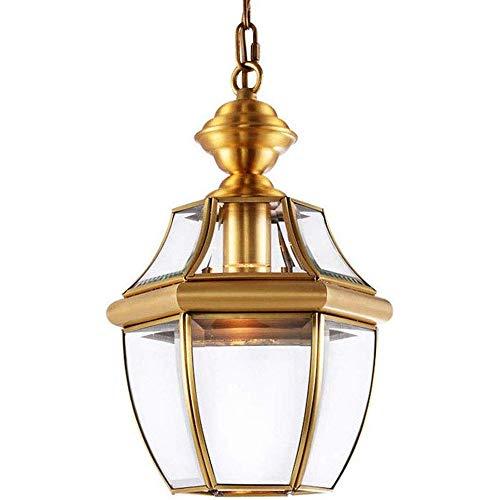 ZFAME Europäische Bronze Beleuchtung Kronleuchter Retro-Decke Glasleuchten Bar Garten Balkon Flurbeleuchtung LED