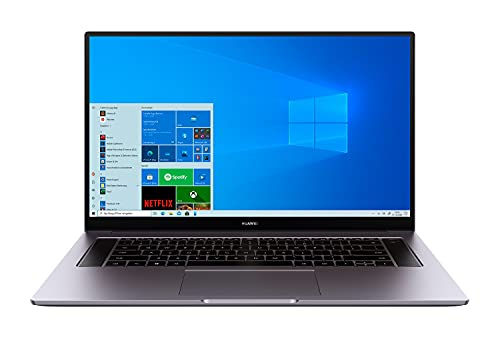 HUAWEI MateBook D16 Laptop, 16,1 Zoll FullView 1080p FullHD Display, 512GB PCIe SSD+16GB RAM, AMD Ryzen 5 4600H, Fingerabdrucksensor, versteckbare Kamera, Windows 10 Home-Grau