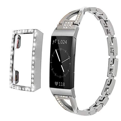 Qianyou für Fitbit Charge 3 Armband Metall/Charge 4 Armbänder mit Hülle Glitzer, Damen Edelstahl Ersatzarmband+PC Vollschutz Schutzhülle Bumper Cover für Fitbit Charge 4/Charge 3-Silber