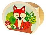 Hess Holzspielzeug 15216 - Hucha de Madera con Llave, Animales del Bosque, búho, Erizo y Zorro, Regalo de cumpleaños para niños, Aprox. 11,5 x 8,5 x 6,5 cm, Multicolor