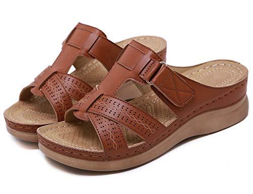 SMajong Mules de Mujer Plataforma Sandalias de Cuero Zapatillas de Moda de Verano Cómodos Zuecos Zapatos de Playa Marrón 36 EU