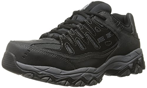 Skechers For Casual Steel Toe Work Sneaker, Black/Charcoal, 10.5 M US