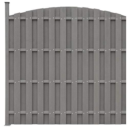 *vidaXL WPC Zaun 180x(165-180) cm Grau Sichtschutzzaun Lamellenzaun Gartenzaun*