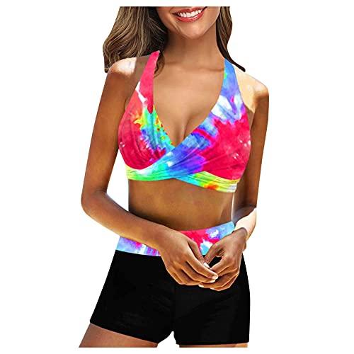 Vintage Seemann Pin Up Badeanzug MäDchen Schwarze BikinihöSchen Tankini Shorts Set Jean Bikini Kylie Jenner Badeanzug Bikinizone Creme (Mehrfarbig 2,XXL)