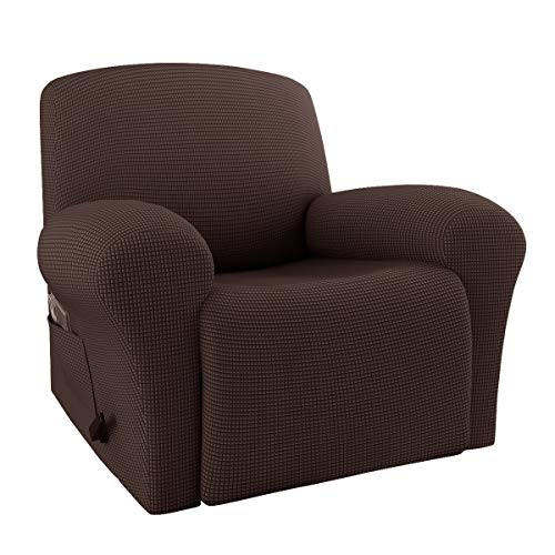 RHF 4 Separate Piece Stretch Recliner Slipcovers, Recliner Chair Cover, Recliner Cover Furniture Protector Elastic Bottom, Recliner Slipcover with Side Pocket (Chocolate-Recliner)