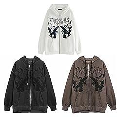 Women's Oversized Zip Up Hoodie Skull Skeleton Print Sweatshirt Aesthetic Jackets Coat Y2k 90S Vintage Harajuku Cardigan (Black, Large) #1