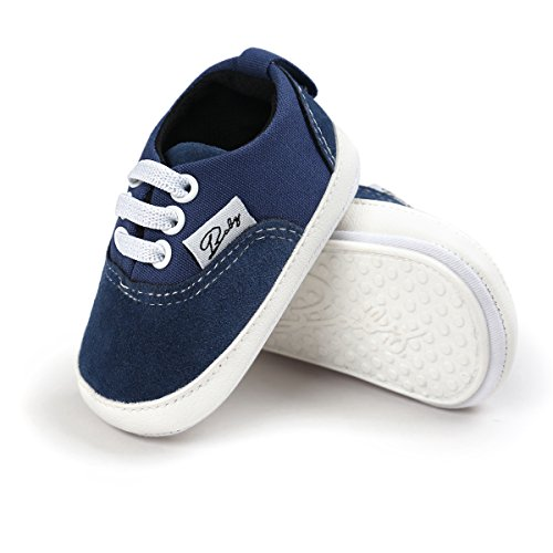 RVROVIC Baby Boys Girls Shoes Canvas Toddler Sneakers Anti-Slip Infant First Walkers 12Color (13cm (12-18months), Dark Blue)
