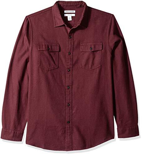 Amazon Essentials Slim-Fit Long-Sleeve Solid Flannel Shirt Button-Down-Shirts, Burgundy Heather, US M (EU M)