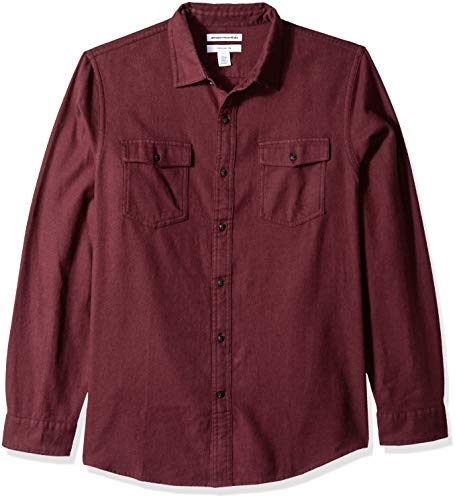 Amazon Essentials Men's Slim-Fit Long-Sleeve Solid Flannel Shirt, Burgundy Heather, Large