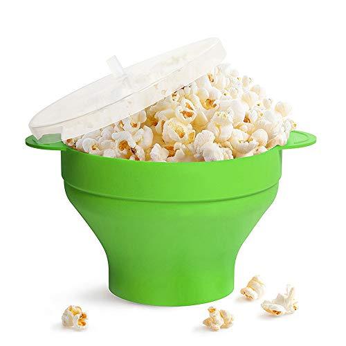 Popcornschüssel aus Silikon,zusammenklappbar,mit Deckel und Griffen Silikon-Popcorn-Hersteller,für die Mikrowelle geeignet(Grün)