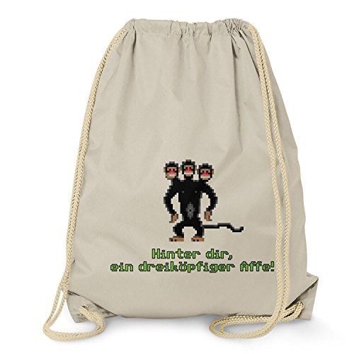 Nerdo - Dreiköpfiger Affe - Turnbeutel, natur