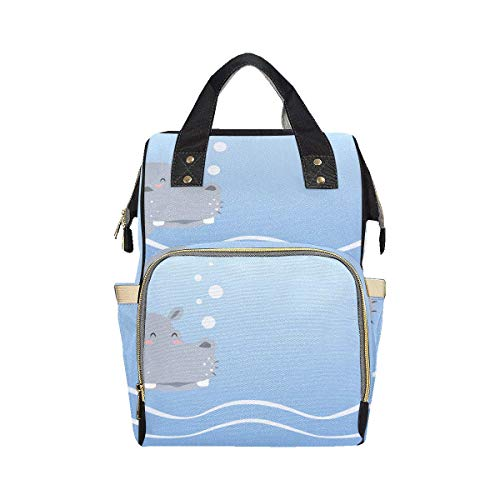 Big Swimming Hippo Lovely Animal Diaper Bag Nappy Backpack Mom Dad Changing Large Capacity Multi-function Diaper Bag Backpacks For Baby Girl Boy