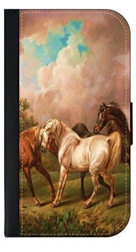 Painting of Three Horses (Charles Towne)-Wallet Case for the SAMSUNG GALAXY S4 i9500 PHONE ONLY!!!!!-PU Leather and Suede Wallet Iphone Case with Flip Cover that Closes with a Magnetic Clasp and 3 Inner Pockets for Storage