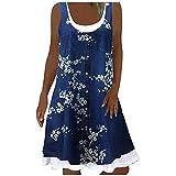 Aniywn Summer Denim Dresses for Women Beach Floral Tshirt Sundress Sleeveless Casual Loose Tank Dress Swing Dress Dark Blue