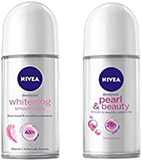 Combo Pack - Nivea 48h Whitening Smooth Skin Deodorant (Even Toned & Smoother Underarms) + Nivea 24h Pearl & Beauty Deodorant (Smooth & Beautiful Underarms)