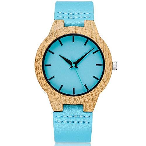 PLUIEX W278, 1 mujer reloj de madera creativo reloj de madera de imitación de cuarzo reloj de imitación de madera con esfera azul hexagonal, reloj de pulsera con correa de cuero