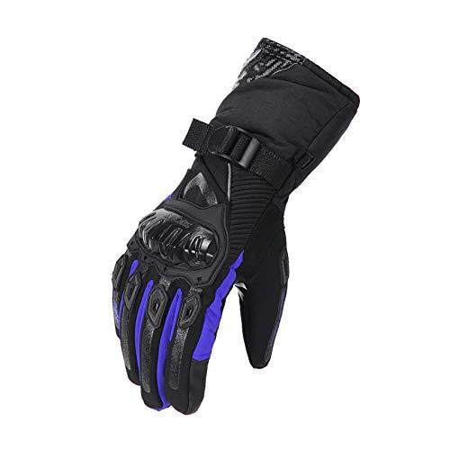YGLONG Guantes Moto Guantes de Invierno Guantes de Moto Impermeable a Prueba de Viento de Moto Moto del motocrós de la Pantalla táctil de la Moto Guantes Guantes Montar (Color : 02 Blue, Size : XXL)