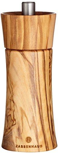 Zassenhaus Pfeffermühle Frankfurt 14 cm, Olivenholz mit stufenlos verstellbarem Hochleistungs-Keramikmahlwerk, befüllt
