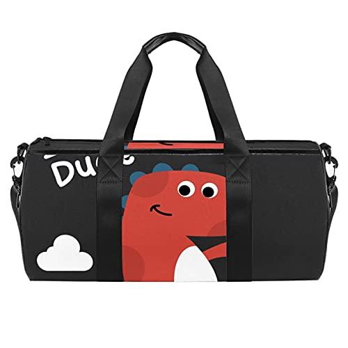 Lindo dinosaurio de dibujos animados Hello Gym Bag para hombres y mujeres Bolsas de fin de semana Deportes Viaje Duffel Bolsa con bolsillo impermeable