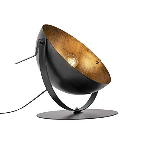 QAZQA - Modern Industrie   Vintage   Tischlampe schwarz mit Gold   Messing einstellbar - Magna   Wohnzimmer   Schlafzimmer - Stahl Rund - LED geeignet E27