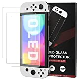 MoKo Protector de Pantalla Compatible con Switch OLED Modelo 2021, [3 PZS] Cristal Vidrio Templado Antihuellas Antiarañazos Fácil Colocación sin Burbujas Ultra Transparente, 9H Dureza - Claro
