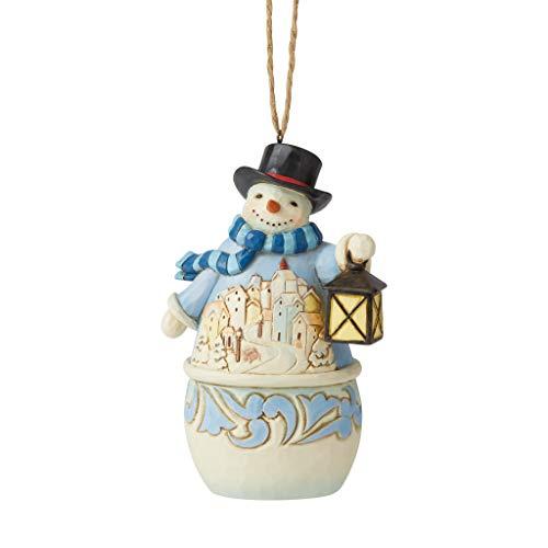 Enesco Jim Shore Heartwood Creek Snowman with Village Scene Hanging Ornament, Multicolor