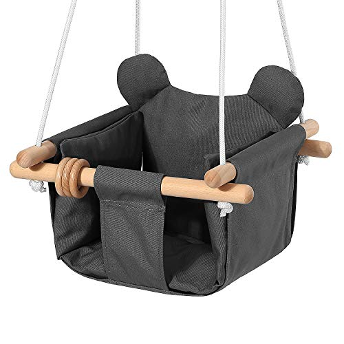 Mlian Secure Canvas and Wooden Baby Hanging Swing Seat Chair Indoor and Outdoor Hammock, Backyard Outside Swing Kids Toys Swings Set 6-36 Months Bear Ear Decor