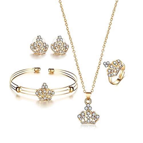 SMEJS elegante cristal corona collar pendientes pulsera anillo nupcial boda fiesta disfraz conjuntos de joyería para novias mujeres