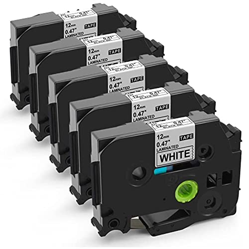 Unistar kompatibel Schriftband als Ersatz für Brother P-touch Bänder TZe 12mm 0.47 White TZe-231 schwarz auf weiß Schriftbandfür PTouch Beschriftungsgerät H105 1000 1005 1010 D400 D600, 5er-Pack