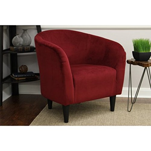 Mainstays Microfiber Tub Accent Chair and 3' X 3' Round Area Rug Included (Berry Red)