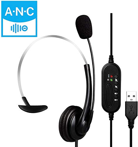 MOSOY USB-Headset mit Mikrofon, USB-Stereo-Computer-Kopfhörer mit Mikrofon für Laptop, PC, verkabeltes Headset mit Lautstärkeregler für Callcenter/Büro/Konferenzanrufe/Online-Kurs-Chat (Black)