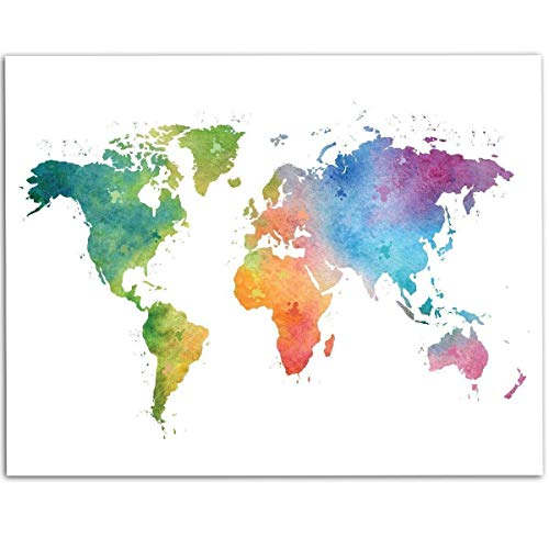 Watercolor World Map - 11x14 Unframed Art Print - Great Classroom and Living Room Decor and Gift for Travelers Under $15