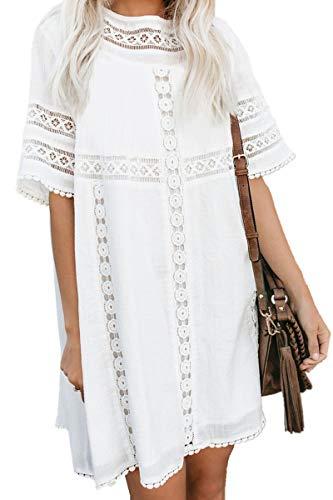 L-Peach Damen Spitzen Bluse Tunika Kleid Strandkleid Pareo Cover ups