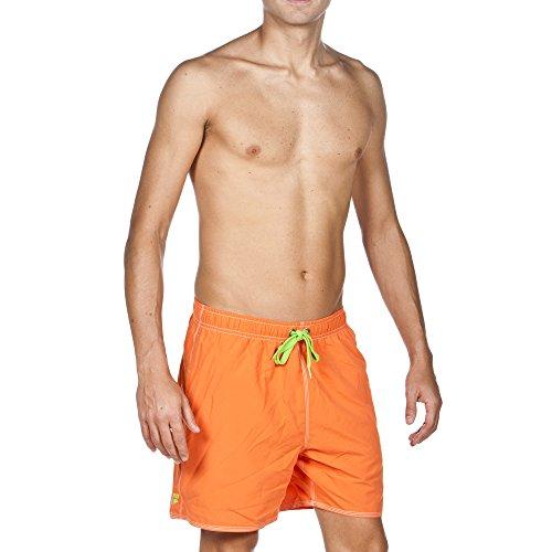 arena Herren Badeshortss Fundamentals Solid Boxer (Schnelltrocknend, Kordelzug, Weiches Material), orange (Mango-Leaf), L
