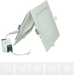 ECD Germany 5 x Panneau LED Ultramince 12W - Carré - 17x17 cm - SMD 2835-735 Lumens - Plafonnier LED Blanc Froid - 6000K -...