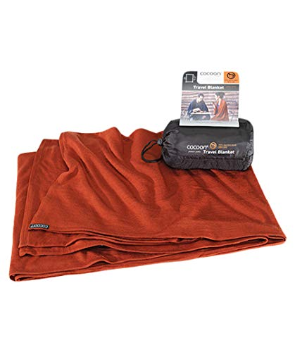 Cocoon Travel Blanket Merinowolle/Seide - dark terracotta