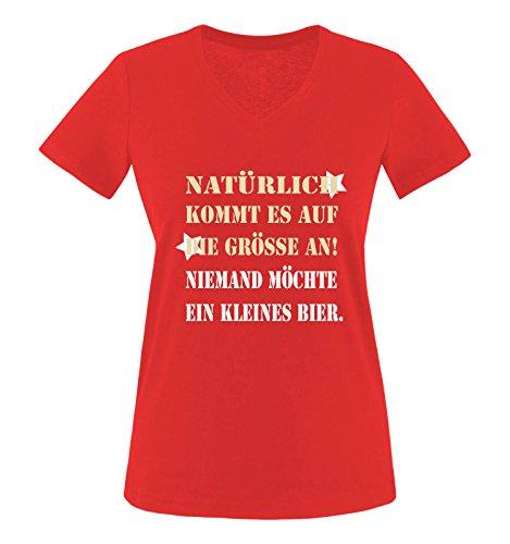 Comedy Shirts – Bien sûr, il arrive à la taille ! Personne ne souhaite avoir à la petite bière – Col en V – Col en V – 100 % coton, T-shirt à manches courtes Top Basic - Rouge - XL