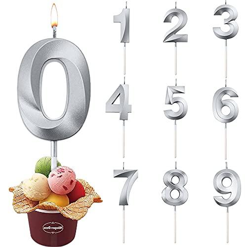 Geburtstag Zahl Kerzen, Geburtstagskerzen Zahlen Silber, Glitzer Geburtstagskerzen,Geburtstagstorte Kerzen Zahlen,für Hochzeitsparty, Geburtstag,Abschlussfeier(Zahl 0)