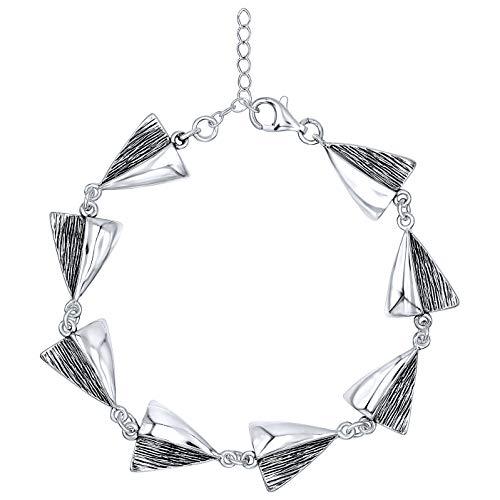 Pulsera grande de plata de ley 925 oxidada ennegrecida para mujer, diseño de triángulo